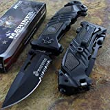 Mtech Us Marines Combat Folding Rescue Knife Stainless Steel Blade Black Handle Review