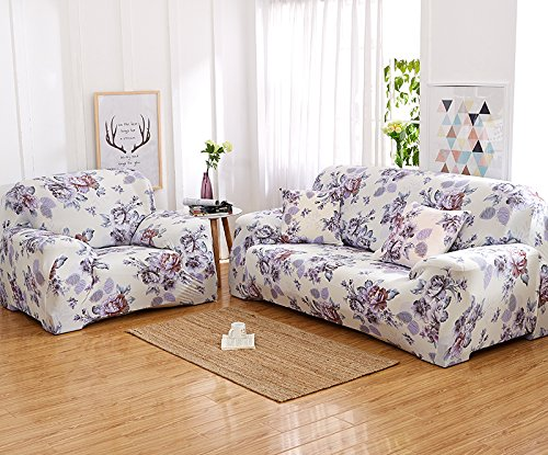 inrisesgrand Floral Printed Sofa Cover Anti-Slip Elastic Slipcover Stretch Polyester Fabric Soft Furniture Protector Couch Cover (Three seater(75''-91''), Anny Garden)