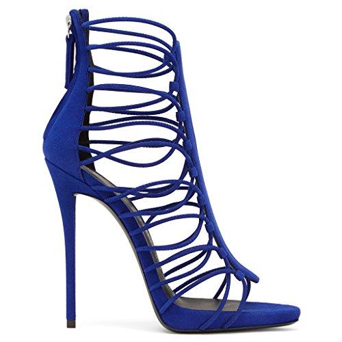 Sandalias De Las Mujeres Tacones Altos Kaitzen Vendajes Cremallera Moda Brillante Tobillo Plataforma Bomba Zapatos De La Corte Partido De La Tarde Primavera Verano Azul