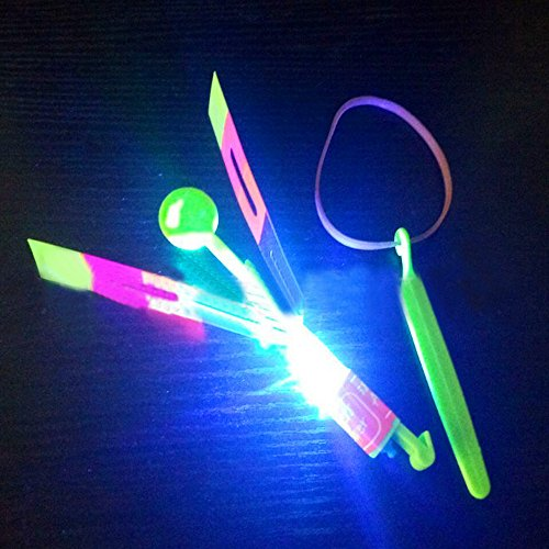 Newdiva LED Light Up Flashing Dragonfly Glow for Kid - LED Braided Toy Event Photography Props Slingshot LED Helicopter Toys for Celebrate Birthday Party,Kids Birthdays Gifts (Random) ()