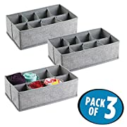 mDesign Fabric Dresser Drawer Storage Organizer for Underwear, Socks, Bras - Pack of 3, 8 Compartments Each, Gray