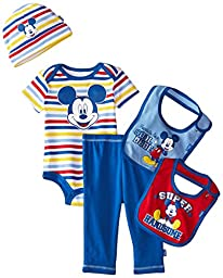 Disney Baby Boys\' Mickey Mouse 5 Piece Set Stripes, Blue, (0-6 Months)
