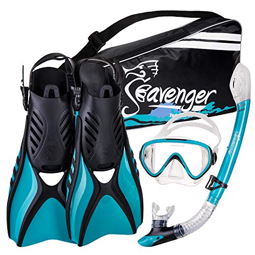 Seavenger Advanced Snorkeling Set with Panoramic Mask, Trek Fins, Dry Top Snorkel & Gear Bag (Clear Teal, Small)