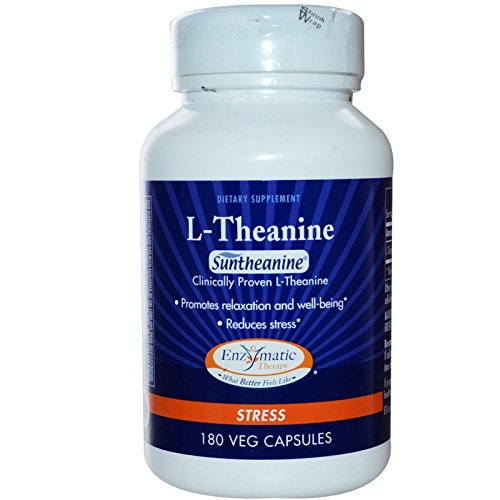 Enzymatic Therapy, L-Theanine, Stress, 180 Veggie Caps - 3PC by Enzymatic