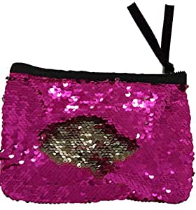 Sequin Makeup Bag Reversible Cosmetic Bag, Winmany Fashion Women Handbag Bling Glitter Evening Party Bag,Sparkling Shiny Clutch Handbag Wedding Bag Purse Wallet Pouch