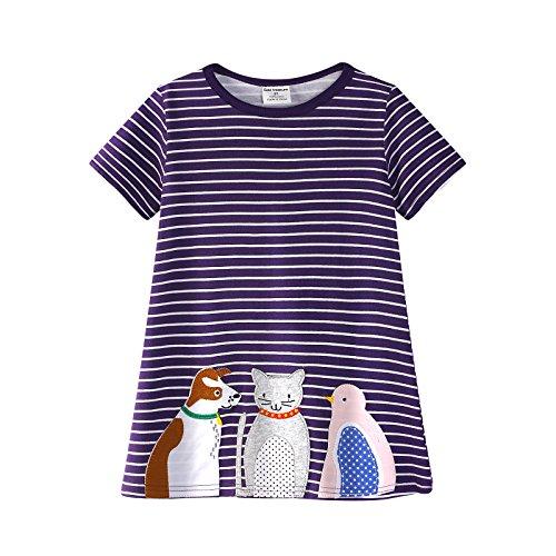 a690bad12 60% de descuento Backbuy Vestido de algodón de manga corta para niñas  Vestido de niña