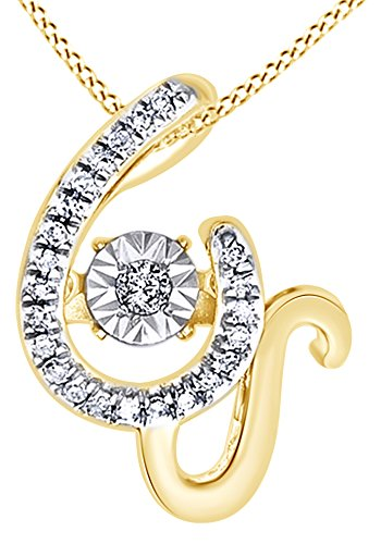 White Natural Diamond W Initial Pendant Necklace In 14K Yellow Gold Over Sterling Silver (0.06 Ct) 0.06 Ct Initial Pendant