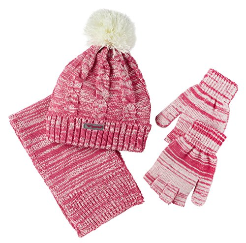 Sportoli Girls Kids 3 or 2 Piece Knit Cold Weather Accessory Set Warm Fleece Lined Pull On Hat Scarf and Gloves