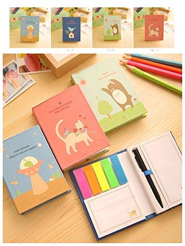 Hxytech Set of 4 Creative UFO/Bear/Cat/Birds Hardcover Combine Memopad Notepad Stationery Diary Notebook Office School Supplies + Pen