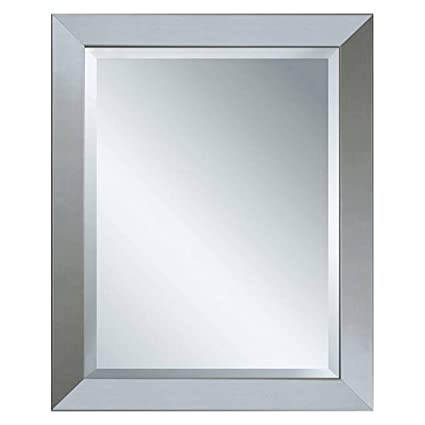 Modern Wall Mirror In Brushed Nickel