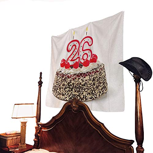 letterson 26th Birthday Tapestry Yummy Cake Sweet Anniversary Delicious Dessert with Cute Candles PictureMulticolor 90