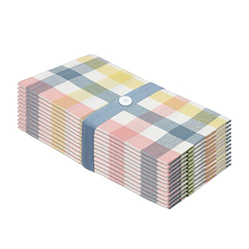 Cotton Craft 12 Pack Gingham Checks Oversized Dinner Napkins - Blue-Green-Pink Multi - Size 20x20 - 100% Cotton - Tailored with mitered corners and a generous hem - Easy care - Pink Green
