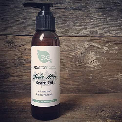 Really Good Winter Mint Beard Oil, 4 oz - Seasonal Scent - All natural, chemical free, cruelty free, vegan