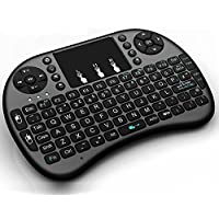 DIGOU Mini 2.4GHz Multi-media Portable Wireless Handheld Mini Keyboard with Touchpad Mouse for PC, XBox 360, PS3, Google Android TV Box, HTPC, IPTV with Removable Battery Touchpad (Black)