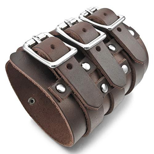 INBLUE Men's Alloy Genuine Leather Bracelet Bangle Cuff Silver Tone Brown Black -