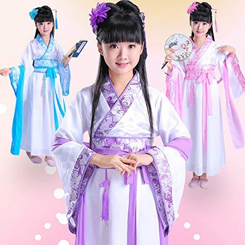 WHFDHF Dress Klassieke Kinderen Meisjes Nationale Kostuum Hanfu Etnische Dans Voor Kinderen Traditionele Tang Oude Kostuum Zh12002 -
