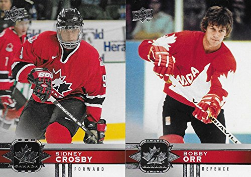 (2017 2018 Upper Deck TEAM CANADA Limited Edition NHL Hockey Series 100 Card Set with Stars and Hall of Famers including Sidney Crosby, Bobby Orr, Connor McDavid, Bobby Hull plus)