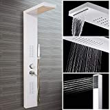Bocy Boon Stainless Steel Bathroom Shower Column Tower Panel with Twin Heads Body Massage Jets White SPS2C