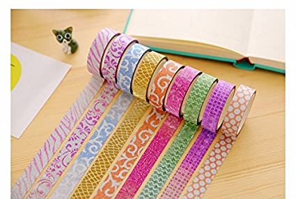 CraftDev Colourful Decorative Adhesive Glitter Tape Rolls, Length 3m Each, Set of 10 (Designs As Per Availability) Arts & Crafts Tape at amazon