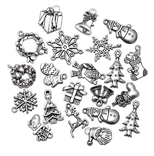 50pcs Mix Style Antique Silver Tone Christmas Snowflake Socks Santa Claus Deer Charms Pendant