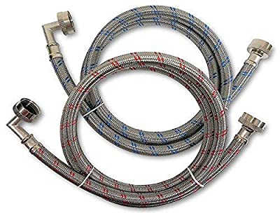 Premium Stainless Steel Washing Machine Hoses with Elbow, Color Coded