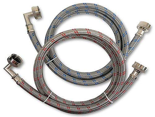 Premium Stainless Steel Washing Machine Hoses with 90 Degree Elbow, 6 Ft Burst Proof (2 Pack) Red and Blue Striped Water Connection Inlet Supply Lines - Lead Free