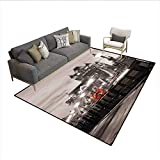 Carpet,London Theme Tower Bridge in The Famous City Urban Life Scenery Europe,Non Slip Rug Pad,Taupe Grey Red 5'x7'