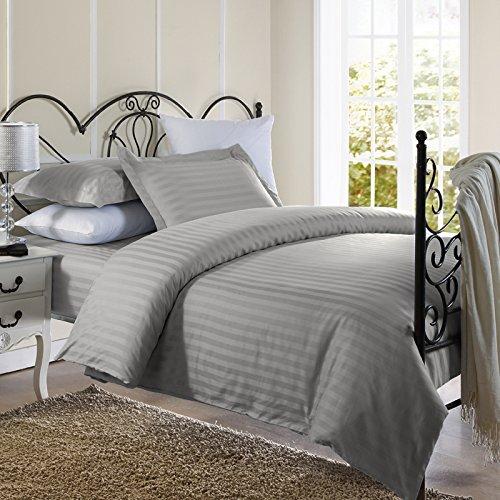 Ellington Home 1800 Series 3 Piece Damask Stripe Duvet Cover Set (Full/Queen, Grey) (Gray Damask Duvet Cover)