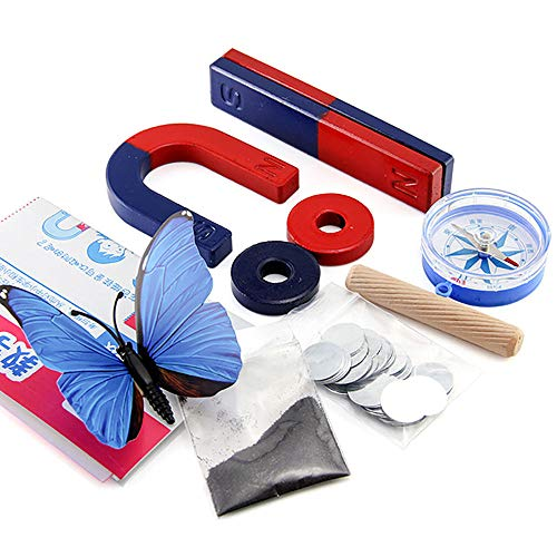 Labs Magnet Set Education Science Experiment Tools Kit for Kids Students Including Bar Ring Horseshoe Magnets Compass Set of 9 ()