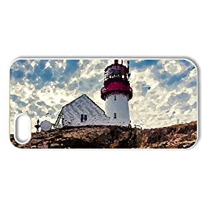 Lighthouse at Lindesnes Fyr, Norway - Case Cover for iPhone 5 and 5S (Lighthouses Series, Watercolor style, White)