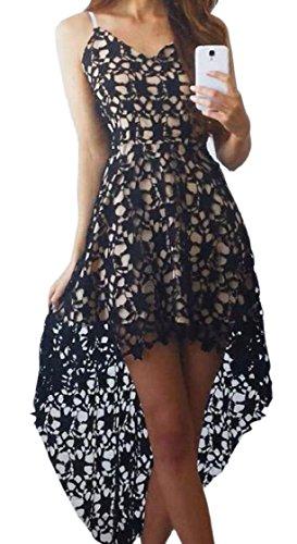 Strap Dresses Hollow Club Out Low Crochet Sexy Spaghetti Women Black High Jaycargogo qHtU1v
