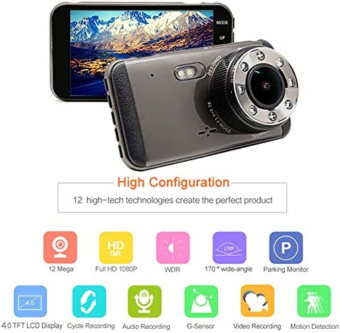 Night Vision Car Camera Loop Recording Dashboard Cameras with G-Sensor Parking Monitoring Motion Detection 4 Inch IPS Screen Super Night Vision!!! EKLEVA Dual Lens Dash Cam HD Front and Rear