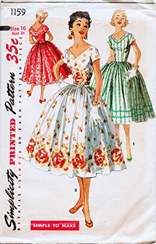 Simplicity 1159 Vintage Misses Rockabilly, 1950's Shirt Waist Dress Sewing Pattern, Check listings for Size