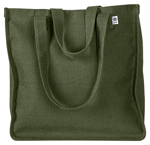 Econscious Interior Hanging Pocket Hemp Market Tote, OLIVE, (Canvas Tote Bag Green)