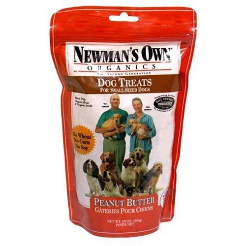 Newman's Own Organics Premium Dog Treats, Peanut Butter, Small Size, 10-Ounce Bags (Pack of 6)