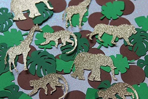 Jungle Confetti - Gold Glitter Safari Confetti - Baby Shower Table Scatter (Set of 200 Pieces) ()