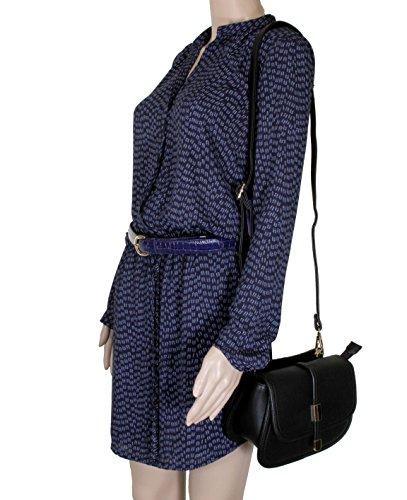 Alyssa Body Tassel Cross Fashion Bag Saddle Collection Handbag Women Black Purses aqanxgU