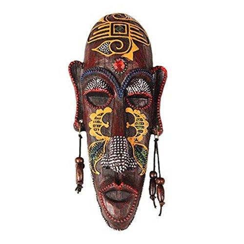 George Jimmy Small Carved African Mask Wall Hanging Africa Decor Wall Art Mask for Home/Bar/Store/Pub, A