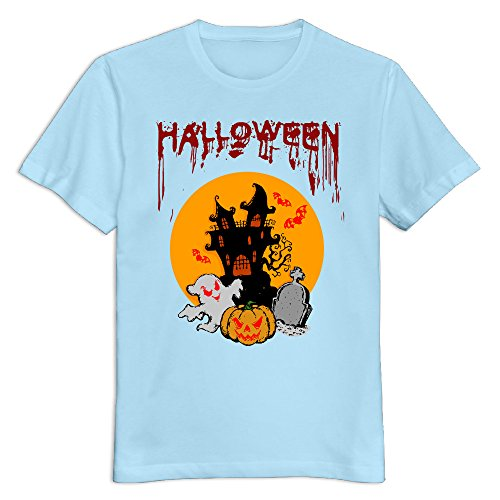 Men's Halloween Day 100% Cotton Round Neck T Shirt T-Shirt SkyBlue US Size -