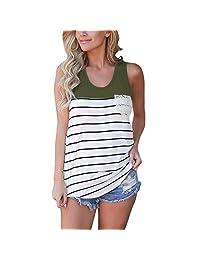 Women's Tank Top, E-Scenery Women Fashion Stripe Lace Pocket Blouse Sleeveless Tops