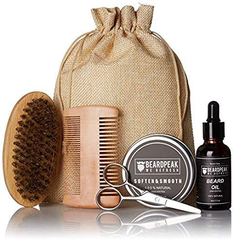 Beard Grooming Kit by BeardPeak   Unscented Beard Oil Leave-in Conditioner and Beard Balm   Boar Beard Brush, Wood Comb, Beard Trimming Scissors   Total Beard Care Now   6-in-1 Beard Kit for Men Gift