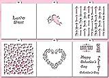 Lubimova.com Cookie and Craft Stencil Set I LOVE YOU, 6 pcs: hearts, angel, inscriptions, valentine, arrows