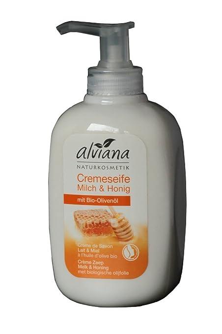 alviana Natural maquillaje Crema jabón Leche y miel con bio de aceite de oliva 300 ml
