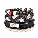 Aoruisier Vintage Bohemia Beaded Multilayer Handmade Woven Cuff Bracelet for Men Women Adjustable Jewelry Gift