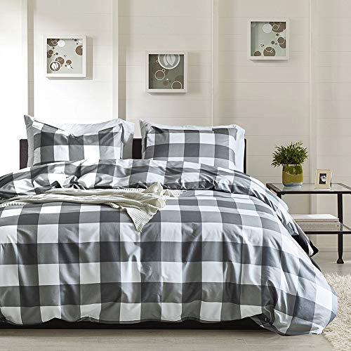 Fire Kirin White and Grey Gird Duvet Cover Set King Size with Zipper Closure, 3 Pieces (1 Duvet Cover + 2 Pillowcases) Plaid Pattern Lightwhight Microfiber Quilt Cover (King) ()