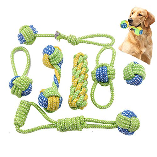 (Flowersea998 Dog Rope Toys,Puppy Chew Teething Rope Toys Set of 7 Durable Cotton Dog Toys Squeak Toys for Playing Playtime and Teeth Cleaning Training Tug-of-War Balls Dog Bones)