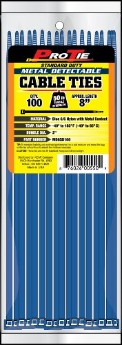 [해외]프로 넥타이 MD8SD100 8 인치 금속 탐지 표준 의무 케이블 타이, 파란색, 100 팩/Pro Tie MD8SD100 8-Inch Metal Detectable Standard Duty Cable Ties, Bl