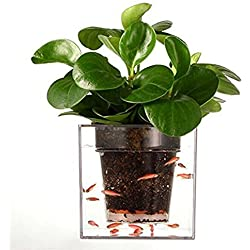 Garbagemall Self-Watering Planter Fish Tank Clear Tube Plant Pot / Flower Pot Aquarium