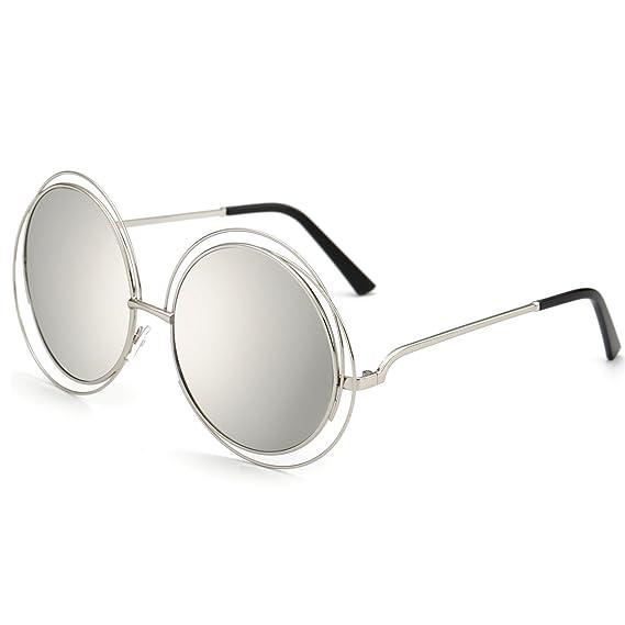 Dollger Damen Rund Übergroß Draht mit Rand Vollmetalle Sonnenbrille(Fuchsie Spiegel+Goldrahmen) sh7bCm