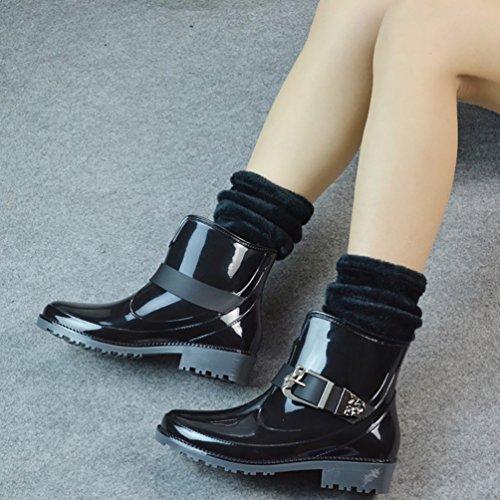 LvRao Señoras Boots de Goma con Tacón Zapatos de Lluvia Nieve Impermeable Botines Tobillo Botas de Jardín para Mujeres Negro con Calcetines
